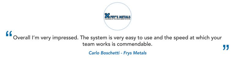 Fry's Metals Client Testimonial